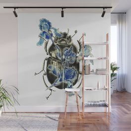Beetle in blue irises Wall Mural