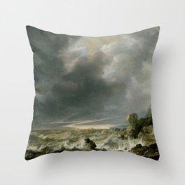 """Simon de Vlieger """"Ship in Distress off a Rocky Coast"""" Throw Pillow"""