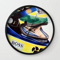 senna Wall Clocks featuring Senna by Gabriel Fox