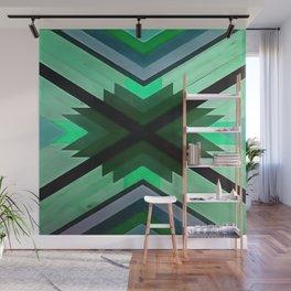 Navaho Vibes Geometric Pattern - Black Pine Aqua Wall Mural