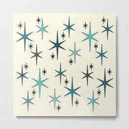 Mid Century Modern Star Sky Turquoise Metal Print
