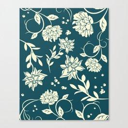 Dark Green Sunlight Flowers Blossom Canvas Print