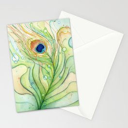 Peacock Feather Green Texture and Bubbles Stationery Cards