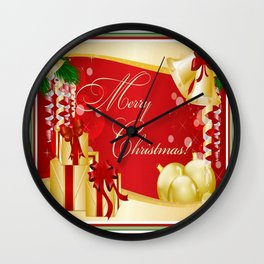 Merry Christmas Greeting With Gifts Bows And Ornaments Wall Clock