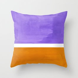 Minimalist Abstract Rothko Mid Century Modern Color Field Lavender Yellow Ochre Throw Pillow