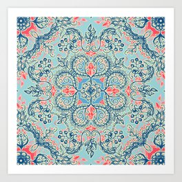 Gypsy Floral in Red & Blue Art Print