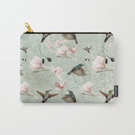 Vintage Watercolor hummingbird and Magnolia Flowers on mint Background Carry-All Pouch