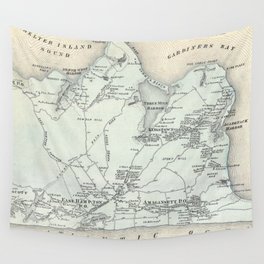 Vintage Map of East Hampton New York (1873) Wall Tapestry