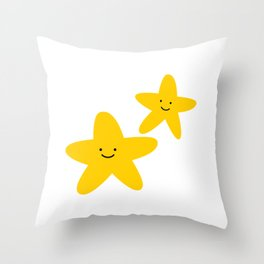 Kawaii Starfish Friends Throw Pillow