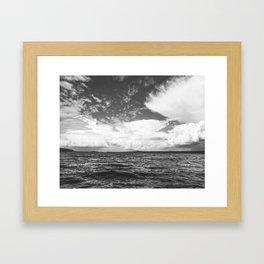 Black And White Lake Landscape - White Cumulus Clouds - Scandinavia - #Society6 #buyart Framed Art Print