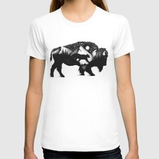 THE BISON AND THE COUGAR MEDIUM White Womens Fitted Tee