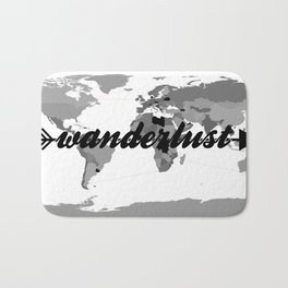 Wanderlust Black and White Map Bath Mat