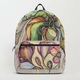 Bridal Bouquet.Hand drawn watercolor and ink drawing Backpack
