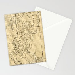 Vintage Map of The Grand Canyon (1908) Stationery Cards
