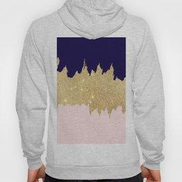 Modern navy blue blush pink gold glitter brushstrokes Hoody