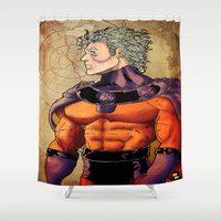 magneto Shower Curtains featuring magneto by Brian Hollins art
