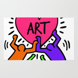 "Keith Haring inspired ""I Love Art"" Secondary Colors edition Rug"