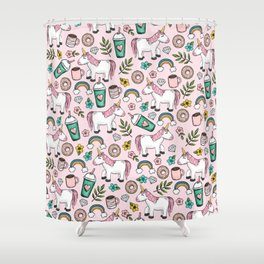 Pink Unicorn, Sweet Pink, Donuts and Frappuccino, Cute Emoji Print for Girls, Tween Decor Shower Curtain