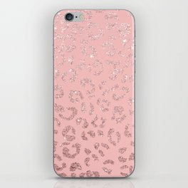 Modern faux rose gold glitter leopard ombre pink pattern iPhone Skin