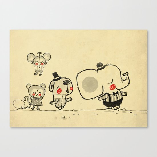 Forest Friends \ Cute Animals March\ elephant cats dogs  Canvas Print