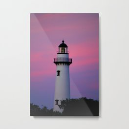 Lighthouse and Sunset Metal Print