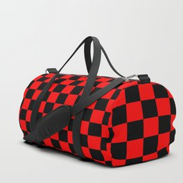 Red Black Checker Boxes Design Duffle Bag