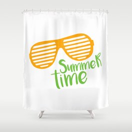 Hand Drawn Trendy Sunglasses. Summer Time Lettering Shower Curtain
