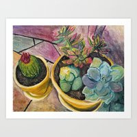 cacti Art Prints featuring Cacti by Emily Kenney