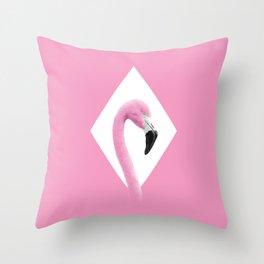 Flamingo Pink Rhomb Throw Pillow