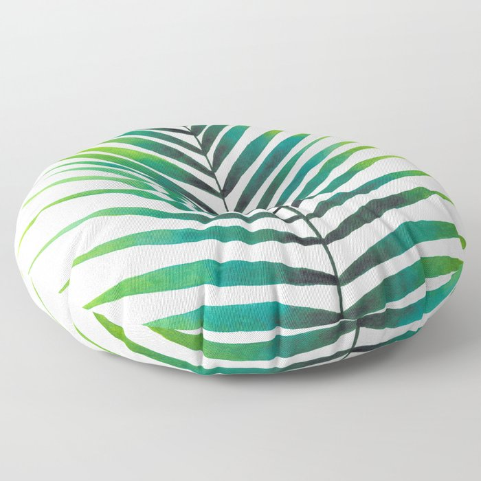 Tropical Palm Leaf #1 | Watercolor Painting Floor Pillow