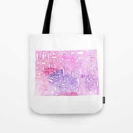 Typographic Colorado - pink watercolor map Tote Bag