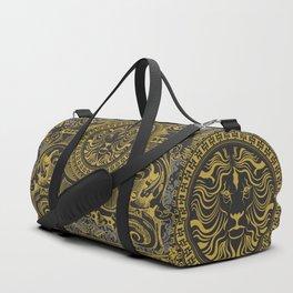 Medallion Lion Black Gold Duffle Bag