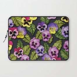 Purple, Red & Yellow Pansies With Green Leaves - Floral/Botanical Pattern Laptop Sleeve
