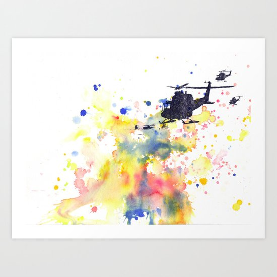Helicopter Flying into Color Art Print