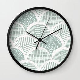 Sketched Aqua Clamshells Wall Clock