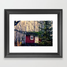 Cabin in the Woods (Emerson quote) Framed Art Print