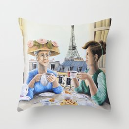 Tea Time in Paris Throw Pillow