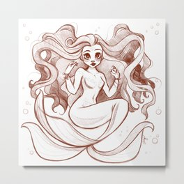 Goldfish Mermaid Metal Print