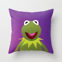 kermit Throw Pillows featuring Kermit - Muppets Collection by Bryan Vogel