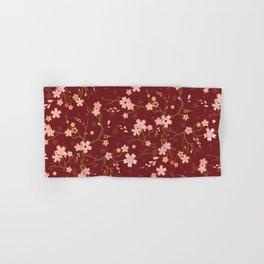 Red Sakura Batik Hand & Bath Towel
