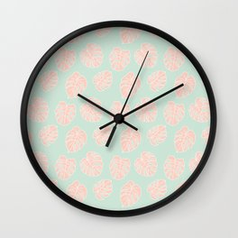 Monstera Tropical Pastel Mint & Coral Pattern Wall Clock