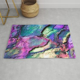 Textured Minerals Fuchsia Teal Purple Rug