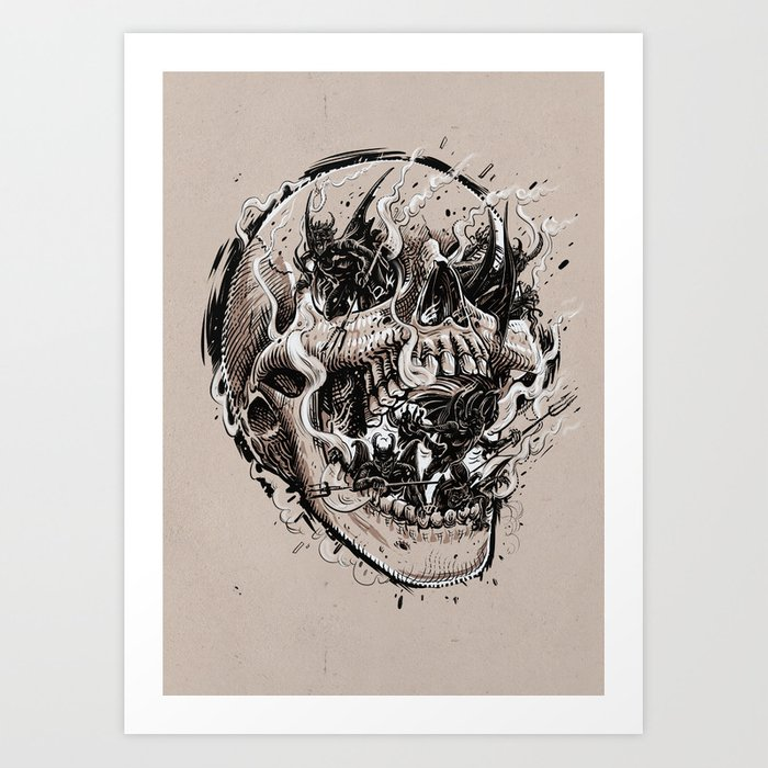 skull with demons struggling to escape Art Print