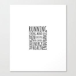 Running word cloud, training motivation Canvas Print