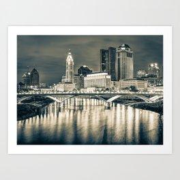 Buckeye State Skyline - Ohio Sepia Cityscape Art Print