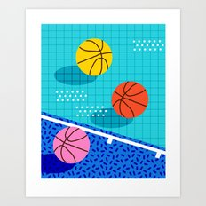 All Day - basketball sports memphis retro throwback neon trendy colors athletic art design Art Print