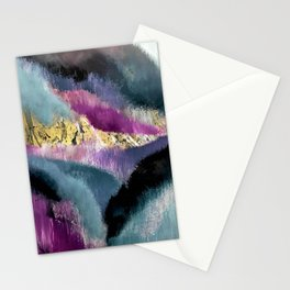 Gemini: a vibrant, colorful abstract piece in gold, purple, blue, black, and white Stationery Cards