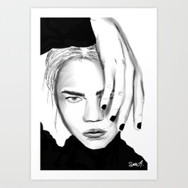 hand in front of face Art Print