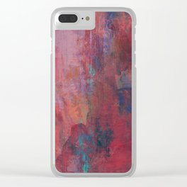 Turquoise and Blue over Red Clear iPhone Case