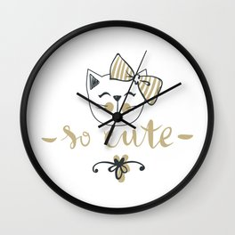 So cute Lovely Bear - Funny hand drawn quotes illustration. Funny humor. Life sayings. Wall Clock